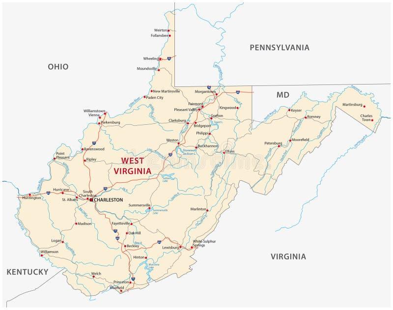 Carte de route de la Virginie Occidentale illustration libre de droits