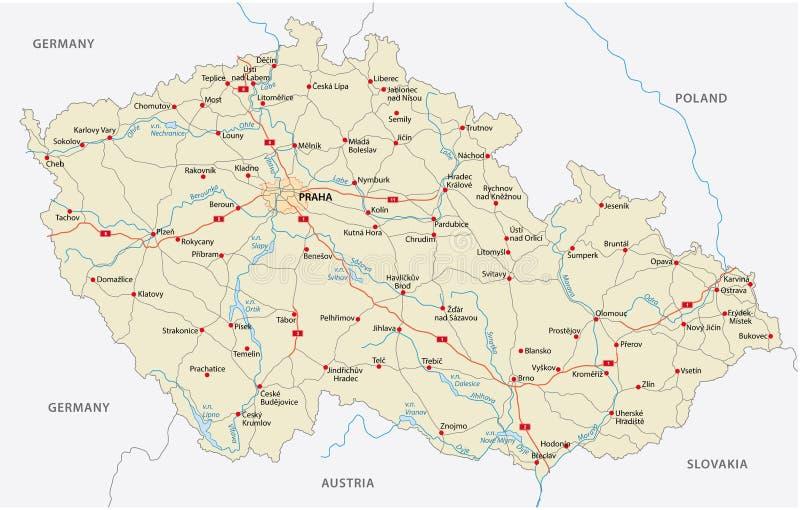 Carte de route de République Tchèque illustration stock