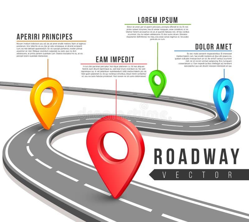 Carte de route de rue pour la conception d'infographics d'affaires de vecteur illustration libre de droits