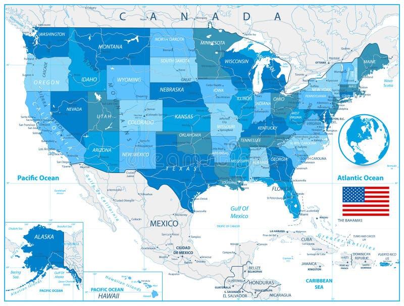 Carte de route des Etats-Unis en couleurs de bleu illustration de vecteur