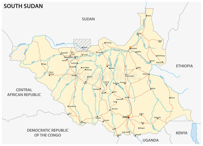 Carte de route du sud du Soudan illustration de vecteur