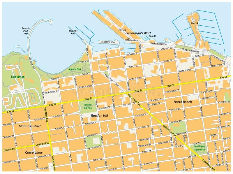 Carte de route du warf du pêcheur de San Francisco illustration stock