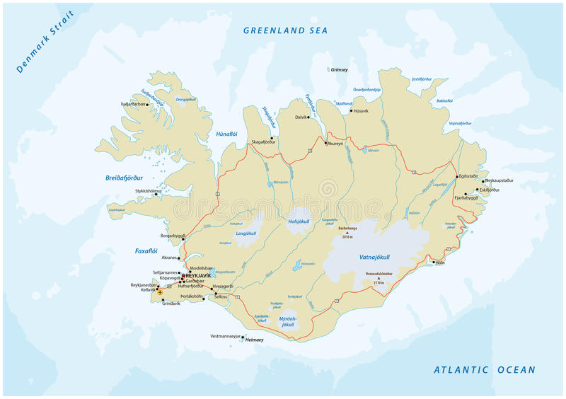 carte de route Islande illustration stock