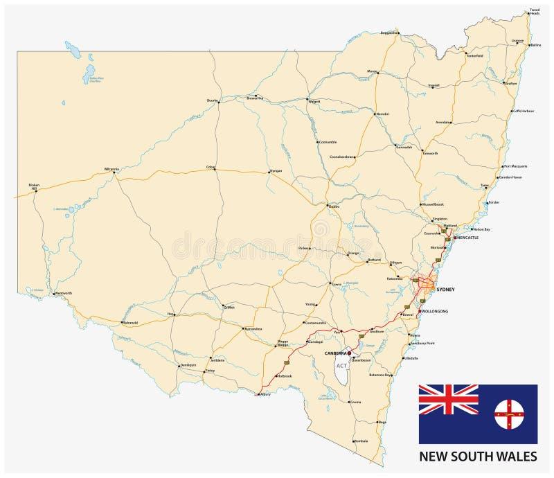 Carte de route de la carte de la Nouvelle-Galles du Sud d'?tat australien avec le drapeau illustration stock