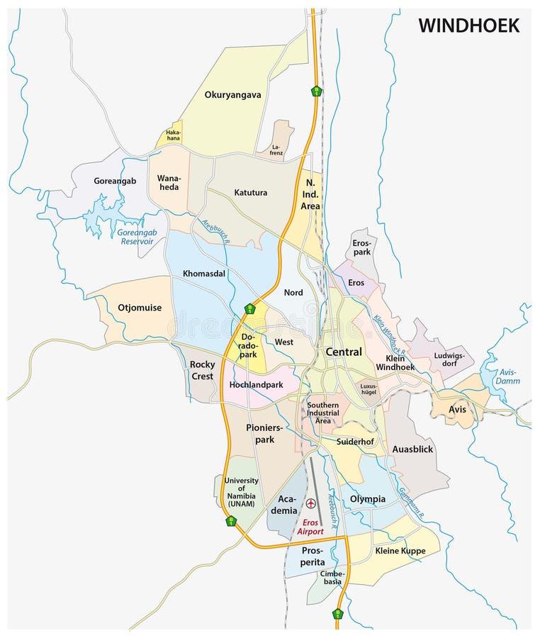 Carte de routes, administrative et politique de la capitale namibienne Windhoek illustration stock