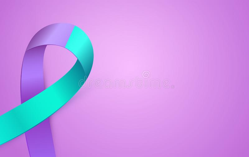 carte de ruban bleu du pourpre 3d au mois de conscience de prévention de suicide Double affiche de ruban de couleur illustration stock