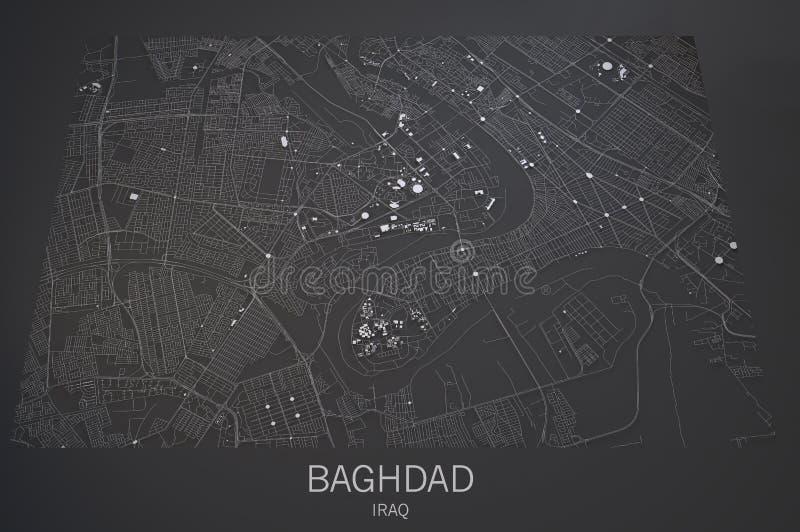 Carte de rues et de bâtiments de Bagdad illustration de vecteur