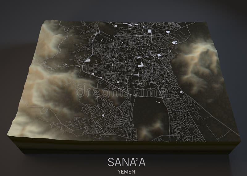 Carte de rues et de bâtiments de Sana'a illustration de vecteur