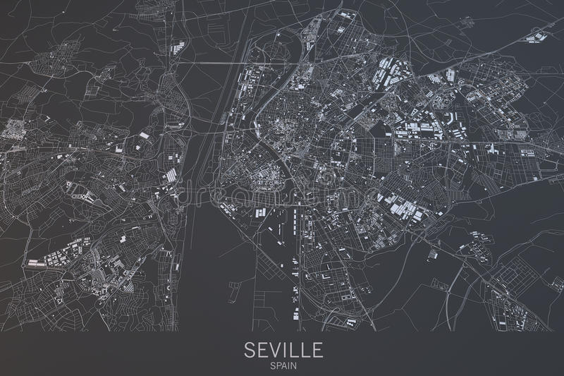 Download Carte De Séville, Vue Satellite, Ville, Espagne Illustration Stock - Illustration du visite, routes: 77156581