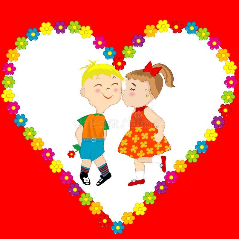 Carte de Saint-Valentin avec des baisers de garçon et de fille illustration libre de droits