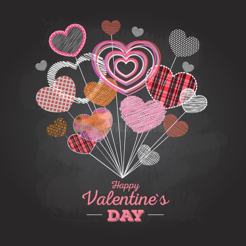Carte de Saint-Valentin avec des coeurs d'amour illustration libre de droits