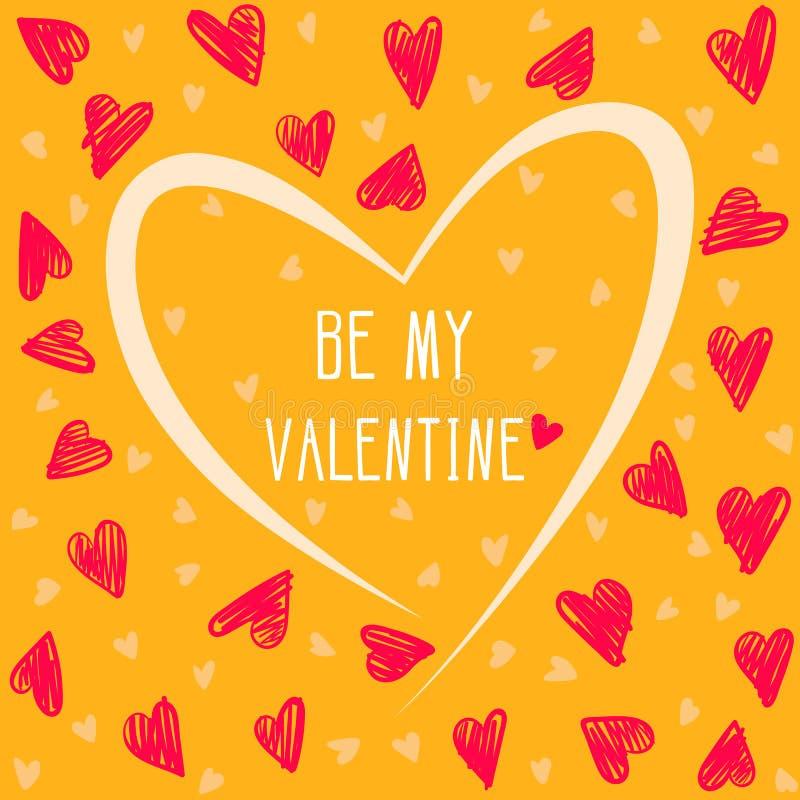 Carte de Saint Valentin avec des coeurs de dessin de main sur le fond jaune illustration de vecteur