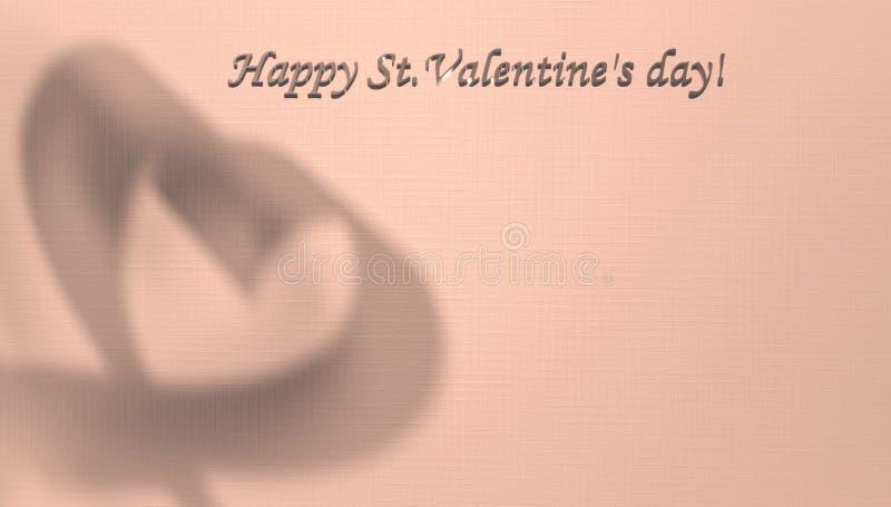 Carte de Saint-Valentin avec l'espace de copie pour votre texte L'ombre d'un coeur à l'arrière-plan, avec l'espace pour des félic illustration de vecteur