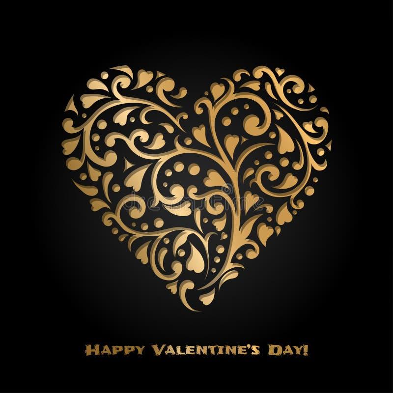 Carte de Saint-Valentin avec le coeur fleuri d'or r 14 février r illustration de vecteur