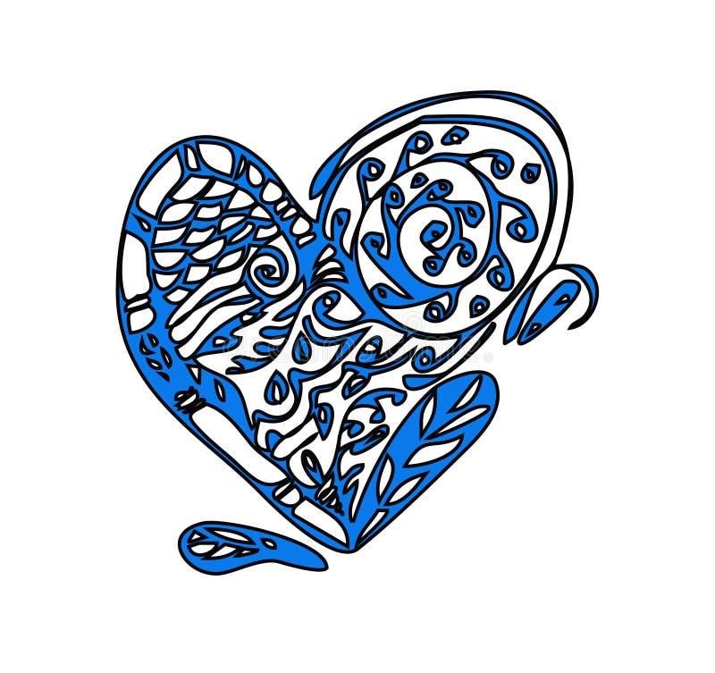 Carte de Saint-Valentin avec le grand coeur de zentagle illustration stock