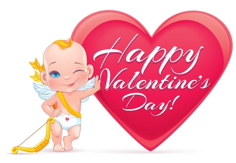Carte de Saint-Valentin avec le petit cupidon de bébé illustration libre de droits