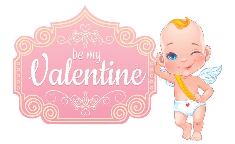 Carte de Saint-Valentin avec le petit cupidon de bébé illustration de vecteur