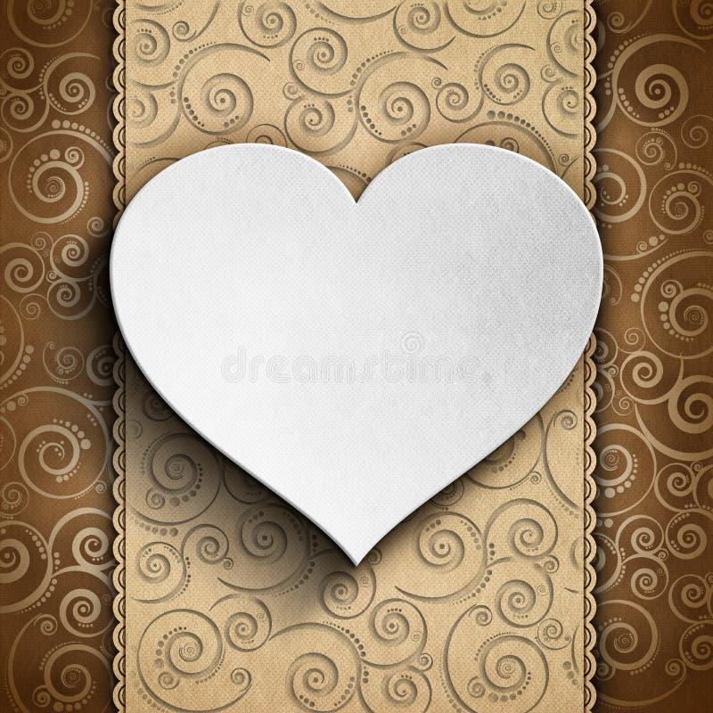 Carte de Saint-Valentin - coeur sur le fond modelé illustration stock