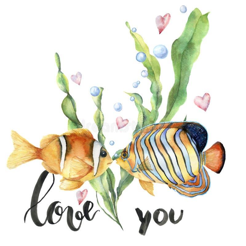 Carte de Saint-Valentin d'aquarelle avec les poissons tropicaux Feuilles de laminaria et branche peintes à la main, deux poissons illustration de vecteur