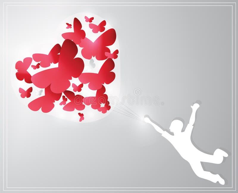 Carte de Saint-Valentin représentant un garçon guidé par des papillons illustration libre de droits