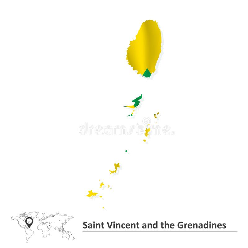 Carte de Saint Vincent et de grenadines avec le drapeau illustration stock
