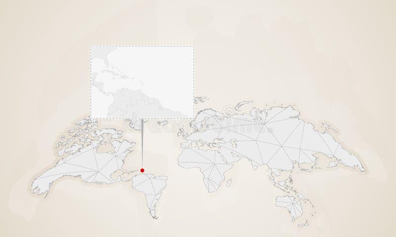 Carte de Saint-Vincent-et-les-Grenadines avec les pays voisins goupillés sur la carte du monde illustration libre de droits