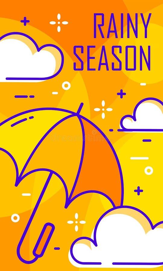 Carte de saison des pluies avec le parapluie et les nuages Ligne mince conception plate Drapeau de vecteur illustration de vecteur