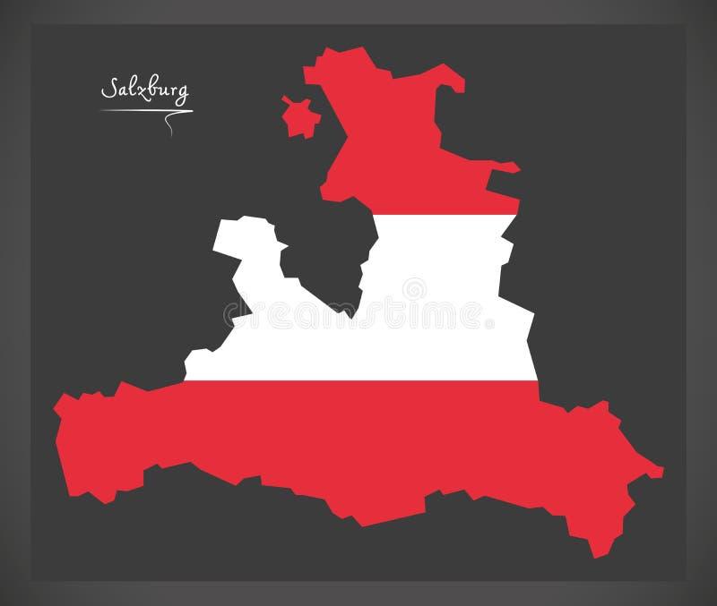 Carte de Salzbourg de l'Autriche avec l'illustration autrichienne de drapeau national illustration libre de droits