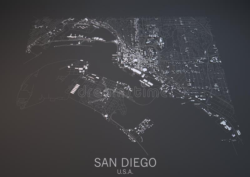Carte de San Diego, Etats-Unis, vue satellite illustration libre de droits