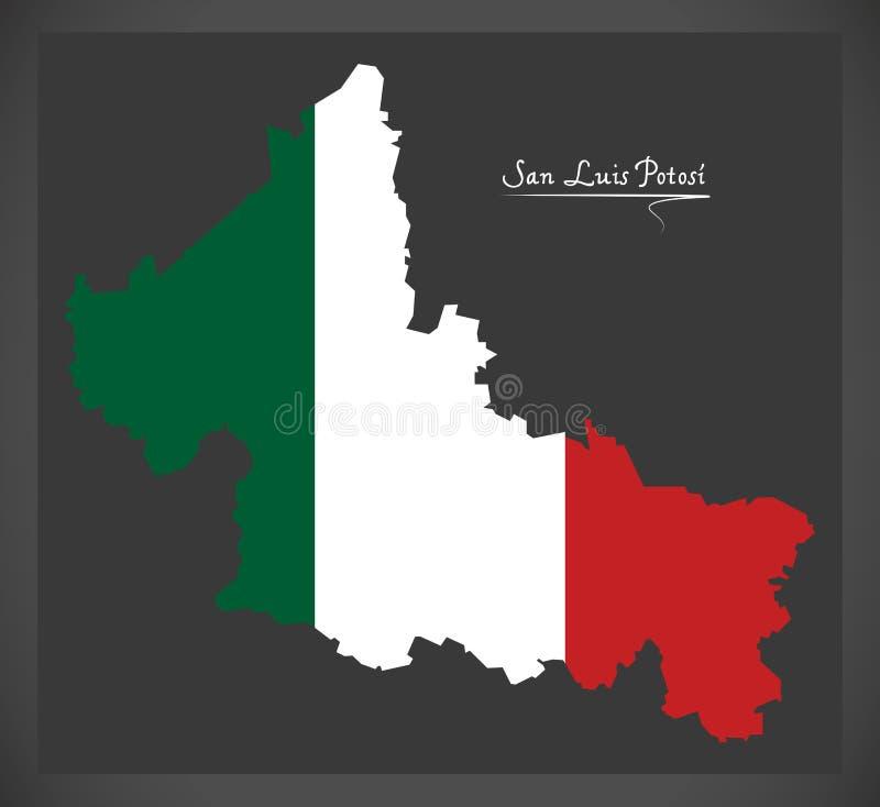 Carte de San Luis Potosi avec l'illustration mexicaine de drapeau national illustration libre de droits