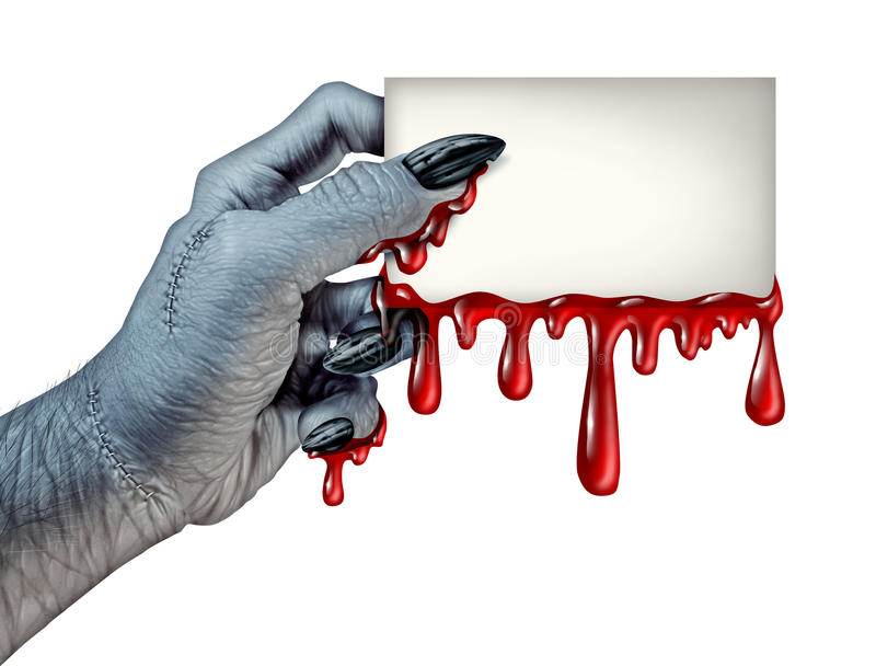Carte de sang de zombi illustration stock