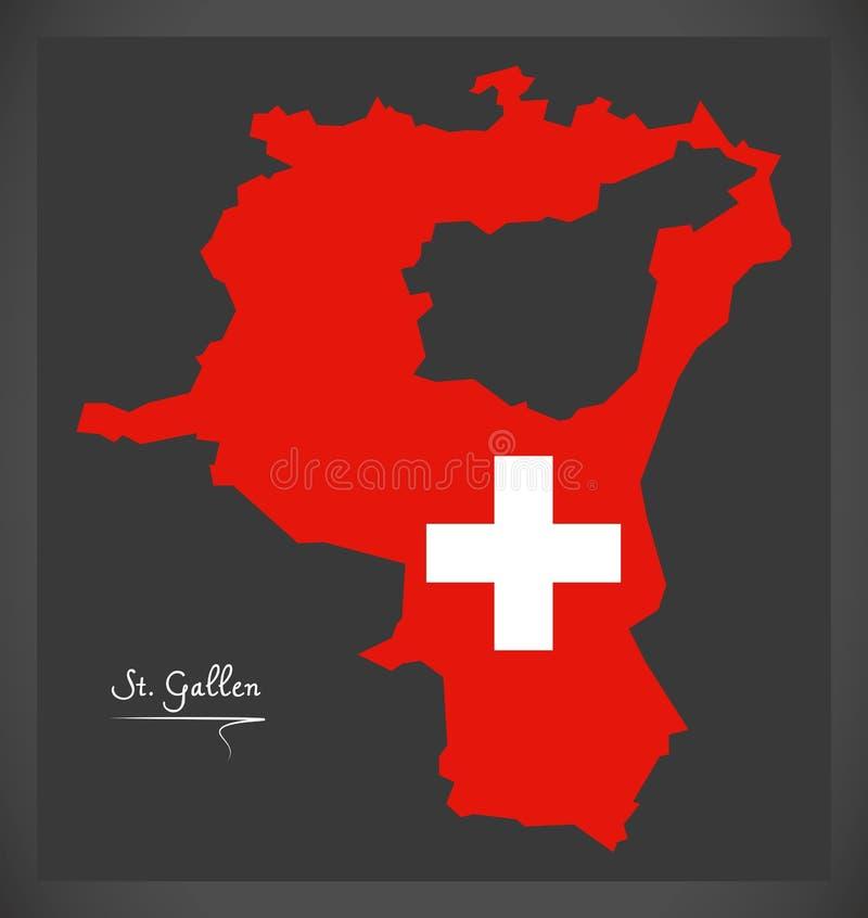 Carte de Sankt Gallen de la Suisse avec l'illustr suisse de drapeau national illustration libre de droits