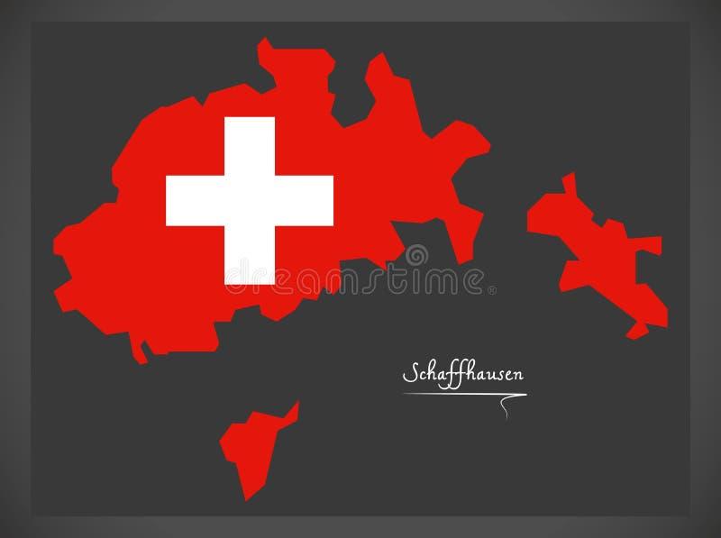 Carte de Schaffhausen de la Suisse avec l'illustr suisse de drapeau national illustration stock