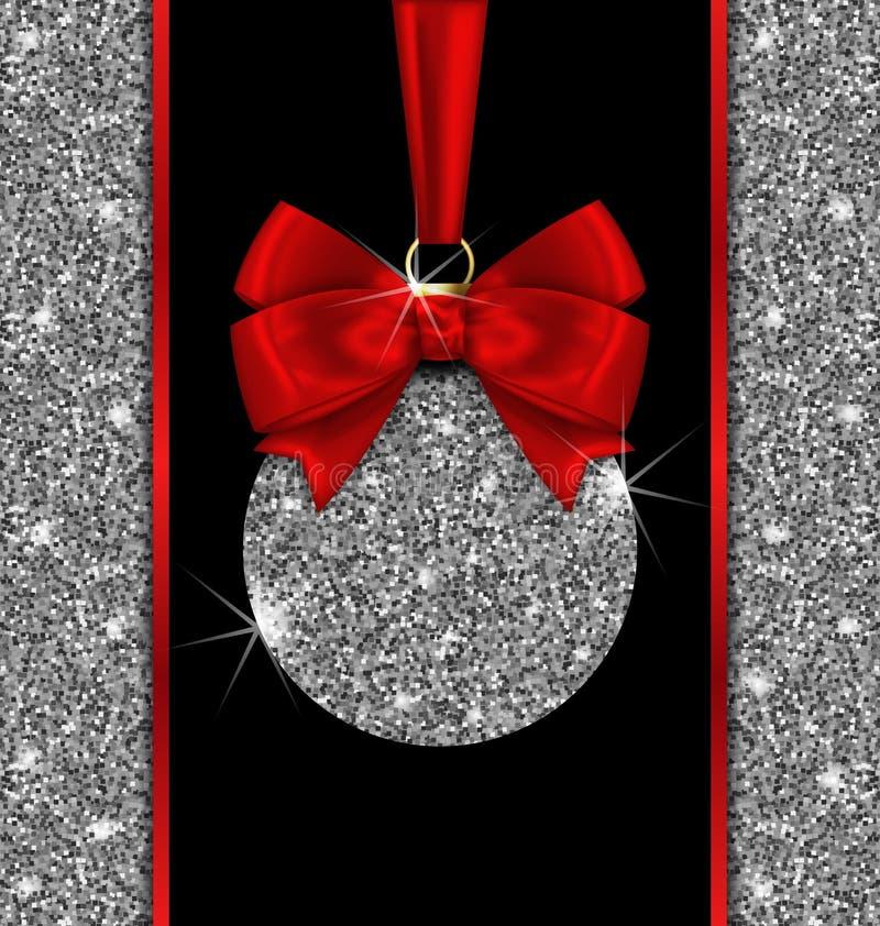 Carte de scintillement avec la boule de Noël et le ruban rouge d'arc illustration de vecteur