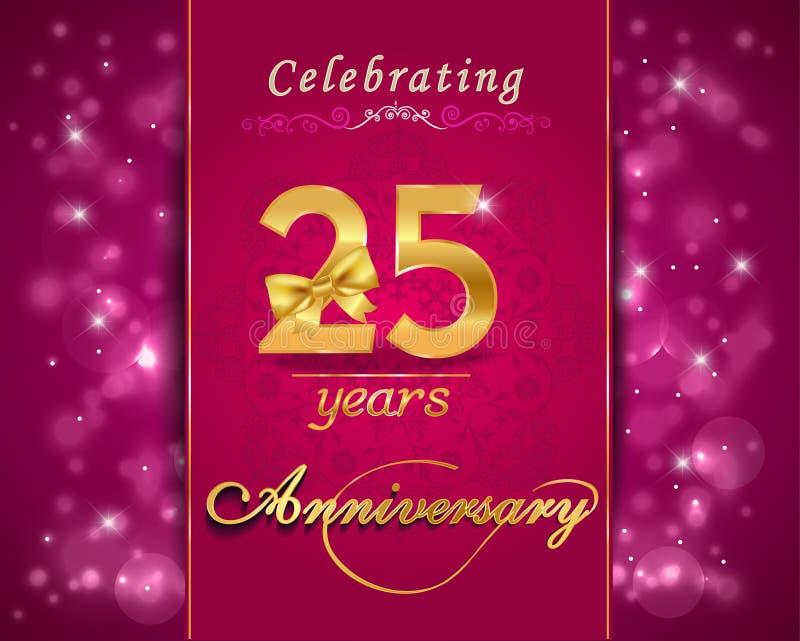 carte de scintillement de célébration d'anniversaire de 25 ans, 25ème anniversaire illustration libre de droits