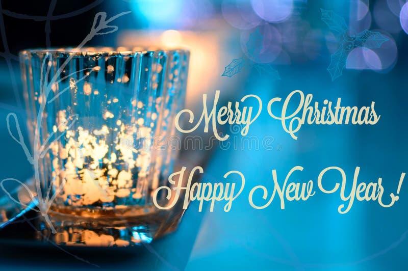 Carte de scintillement et bonne année de Joyeux Noël photos libres de droits