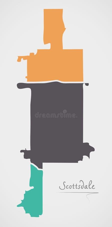 Carte de Scottsdale Arizona avec des voisinages et des formes rondes modernes illustration de vecteur