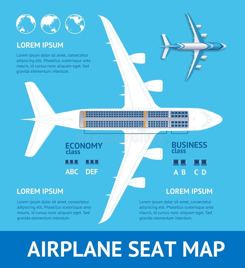 Carte de carte de Seat de plan d'avion Vecteur illustration de vecteur