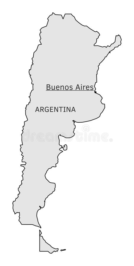 Carte de silhouette de l'Argentine avec le capital de Buenos Aires illustration stock