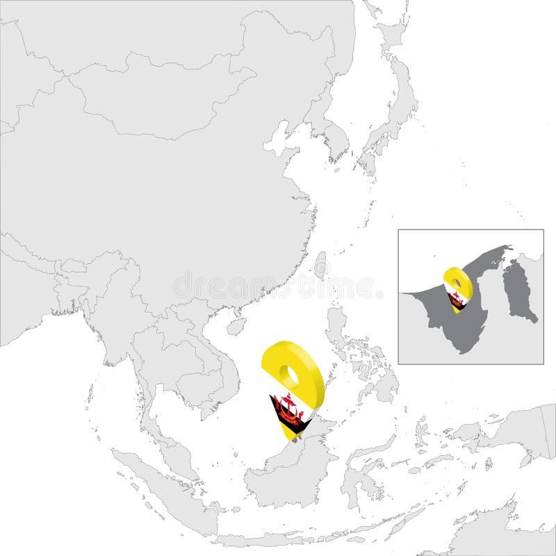 Carte de site d'état du Brunei Darussalam sur la carte Asie goupille d'emplacement de marqueur de carte de drapeau de 3d Brunei C illustration libre de droits