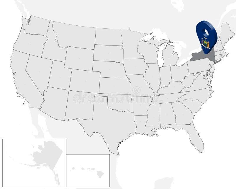Carte de site d'état New York sur la carte Etats-Unis goupille d'emplacement de marqueur de carte de drapeau de New York de l'éta illustration stock