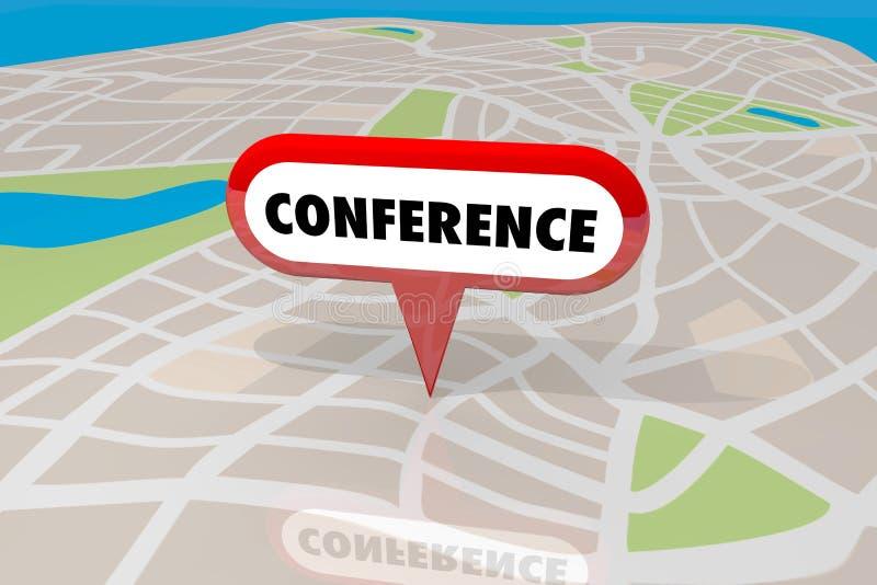 Carte de site Pin Trade Show Event de lieu de rendez-vous de conférence illustration stock