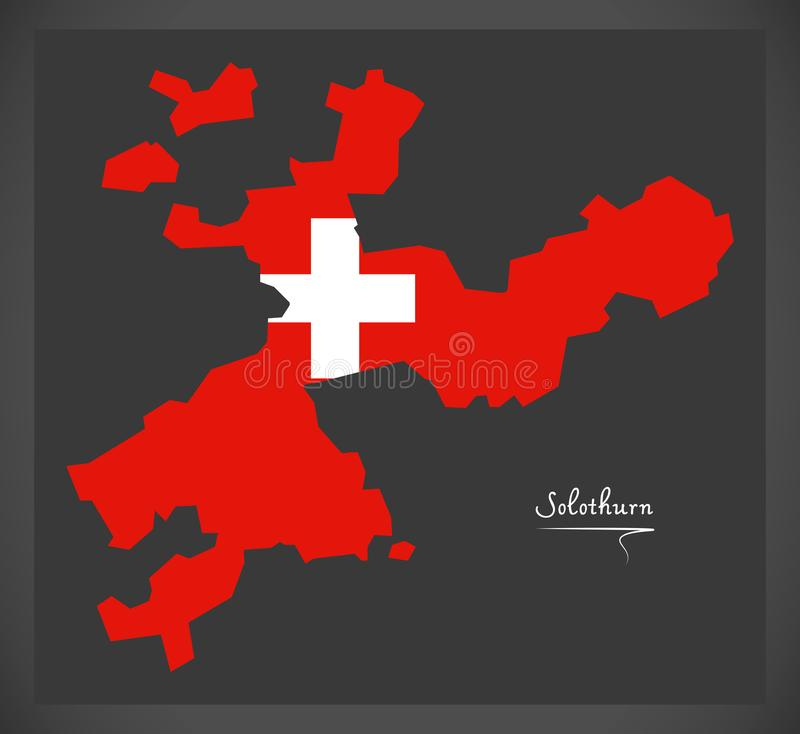 Carte de Solothurn de la Suisse avec l'illustrati suisse de drapeau national illustration stock
