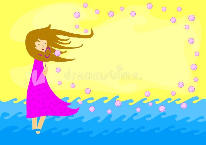 Carte de soufflement d'invitation de bulles de savon de fille illustration libre de droits