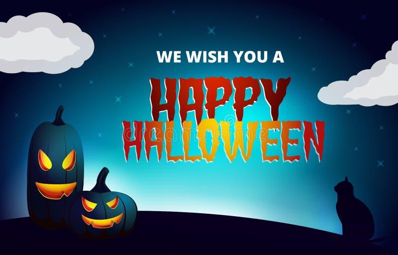 Download Carte De Souhait De Nuit De Halloween Illustration de Vecteur - Illustration du horizontal, foncé: 45353772