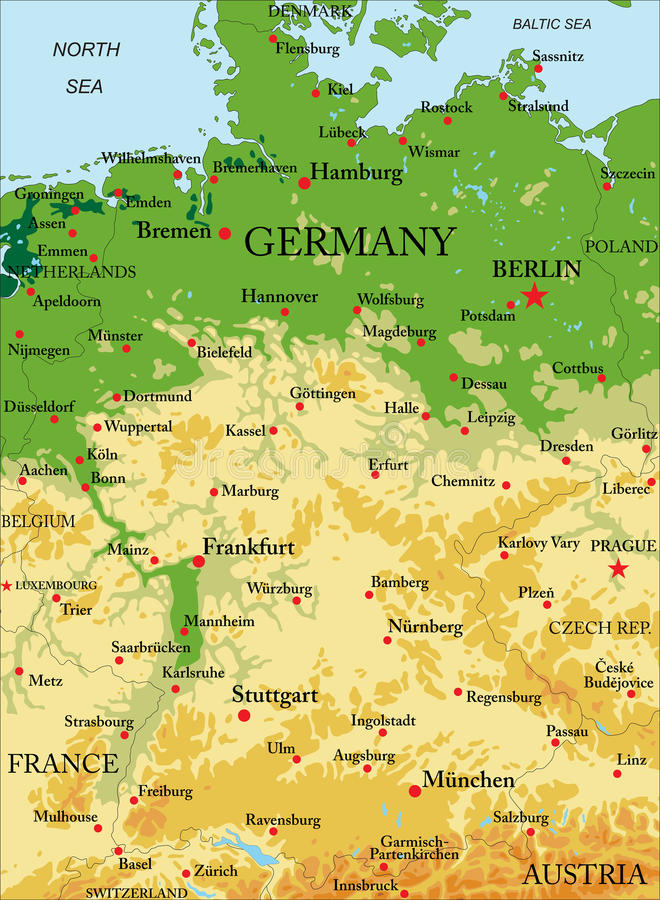 Carte de soulagement de l'Allemagne illustration libre de droits
