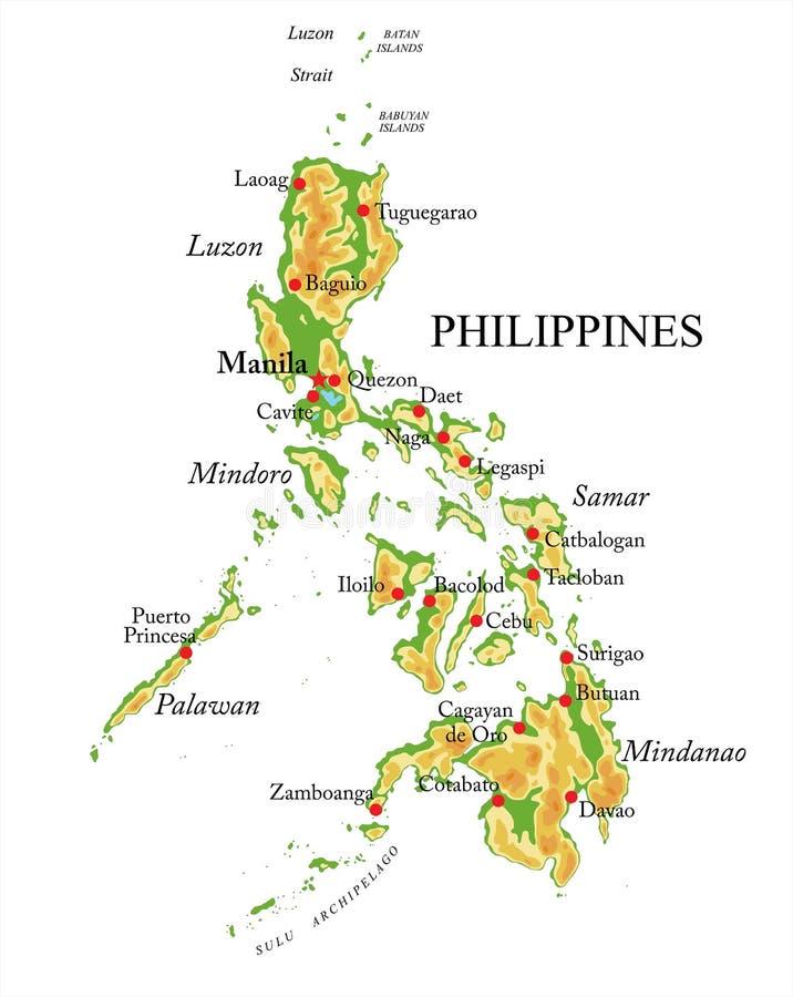 Carte de soulagement de Philippines illustration stock