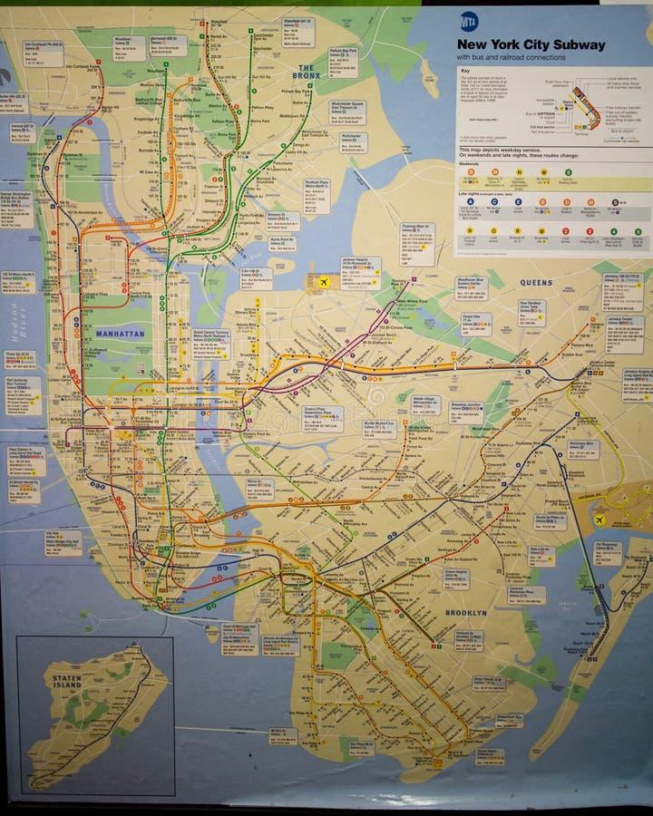 Carte de souterrain de New York City photos stock