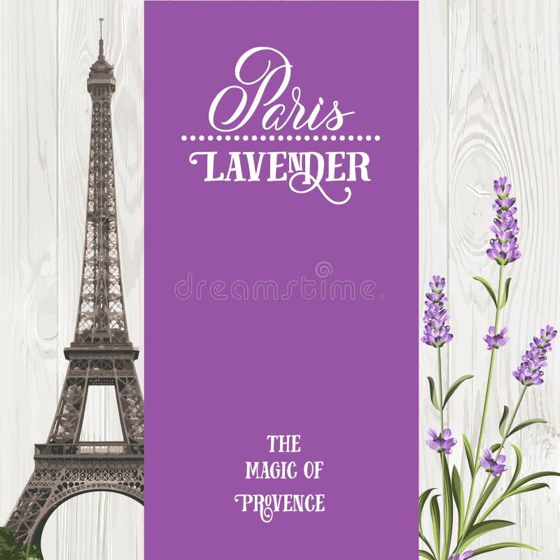 Carte de souvenir avec Tour Eiffel illustration de vecteur