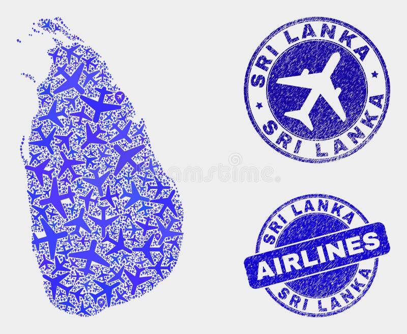Carte de Sri Lanka de vecteur de mosaïque de lignes aériennes et joints grunges illustration libre de droits
